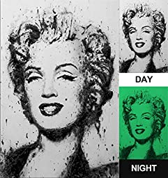 Canvas Glow in the Dark Print, No Energy Consumption, Marilyn Monroe Painting (23.6\