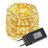 LE Cadena de luces LED 10m, alambre de cobre impermeable, 100 LED blanco cálido, guirnalda de luces, decoración para navidad, fiestas, bodas, jardines