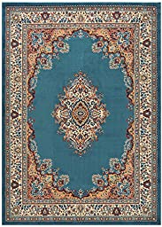 Medallion Traditional Oriental Persian Design Area Rug Rugs (Petrol Blue, 4\'11\