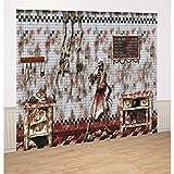 Blutige Küche Wanddeko 244 x 366 cm - 6 tlg. Halloween Deko Halloweendekoration Raumdeko Horrordeko