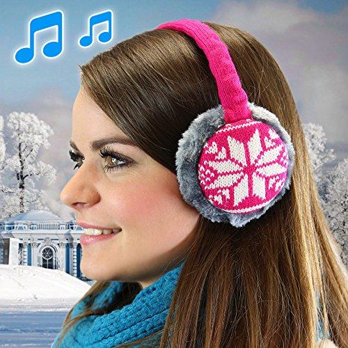 URCOVER® Earmuffs Cuffie Scaldaorecchie Paraorecchie Copriorecchie | Altoparlanti Integrati | Compatibili Android e iOS | Cavo Audio da 3,5 m [ Nero ]