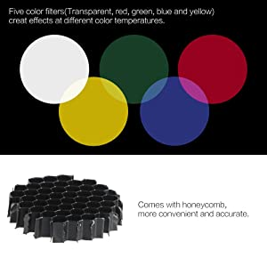 Andoer Metal Conical Snoot with Honeycomb Grid 5pcs Color Filter Kit for Bowens Mount Studio Strobe Monolight Photography Flash (Color: Green)
