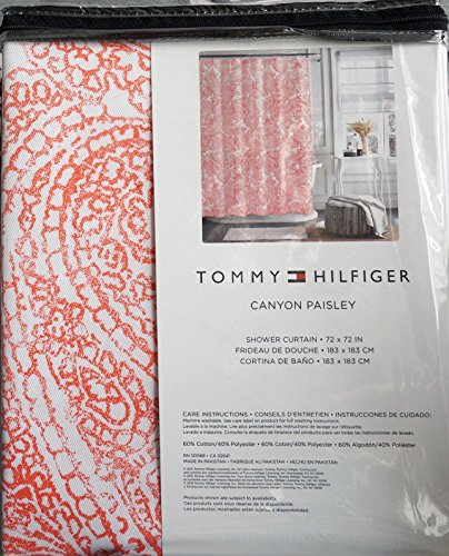 Tommy Hilfiger Fabric Shower Curtain Dark Pink Rose Paisley Pattern On  White    Canyon Paisley