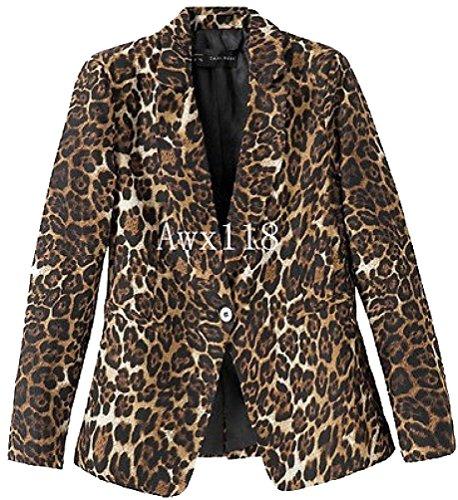 Hkjievshop Style Slim Print Floral Long Sleeves Casual Leopard Suit Coat Jacket
