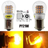 AMAZENAR 2-Pack 1056 BAU15S 7507 12496 5009 PY21W Extremely Bright Amber / Yellow LED Light 9-30V-DC, AK-3014 39 SMD Replacement Bulbs For Turn Signal Lights Tail BackUp Bulbs