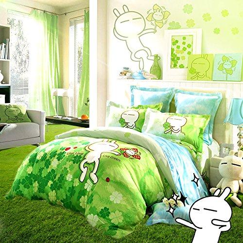 LOVO Tuzki Live Green 100% Tencel 2-Piece Bedding Set Duvet Cover Sham Twin Four Leaf Clover