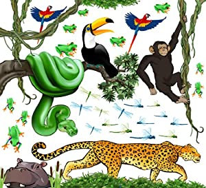 Jungle Safari Animals Peel and Stick Large Wall Decal Theme Room by iStickUp
