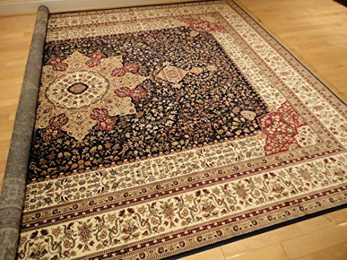 Luxury navy persian rugs large 7x10 rug living room rugs for Living room rugs 6x9
