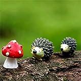 Danmu Resin Mini Hedgehogs and Mushroom Miniature House Fairy Garden Micro Landscape Home Garden Decoration Plant Pots Bonsai Craft Decor