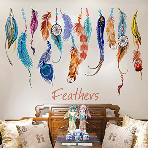 Willtoo Classic Creative Dream Catcher Feather Wall Sticker