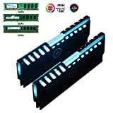 Universal RGB Always on RAM Shell Memory Glowing Heatsink for Computer LED Cooling Vest Fin Heat Sink Controller for DDR3 DDR4 (M Series) (Color: Double LED RAM coolers)