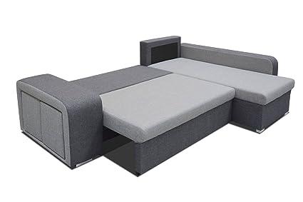 Sofa Delio mit Ottomane rechts in Webstoff grau mit Bettfunktion und Staukasten – Abmessungen: 252 x 182 cm (L x B)