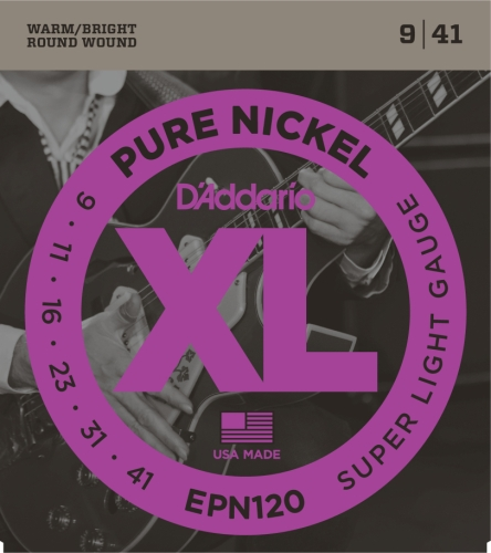 D'Addario Epn120 Pure Nickel Electric Guitar Strings, Super Light, 9-41