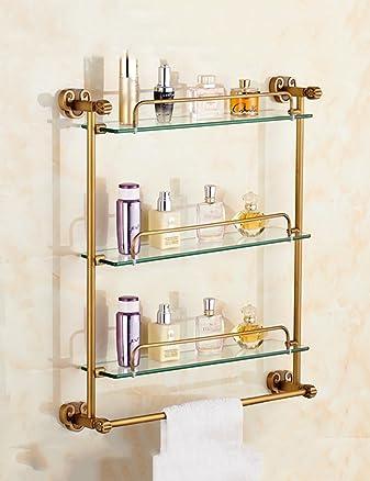 Rack da bagno in casa Copper Antique Glass Bagno Rack Toilet Toilet Doppio ripiani (Diverse dimensioni da scegliere) Qualità A ++++ ( dimensioni : 68*64cm )