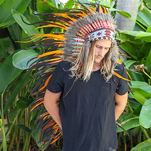 Extra Long Feather Headdress- Native American Indian Inspired- Handmade by Artisan Halloween Costume for Men Women with Real Feathers - Orange Rooster (Steam Iron For Hats compare prices)