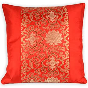 Oriental Throw Pillow Covers : Silky Decorative Embroidered Oriental Cushion Cover / Pillow Case - Red