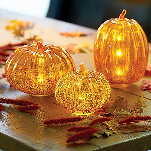 Pre-Lit Mercury Glass Pumpkins-Set of 3