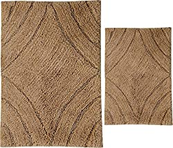Castle Hill 2-Piece Diamond Design Bath Rug Spray Latex, 20 by 30-Inch and 24 by 40-Inch, Natural