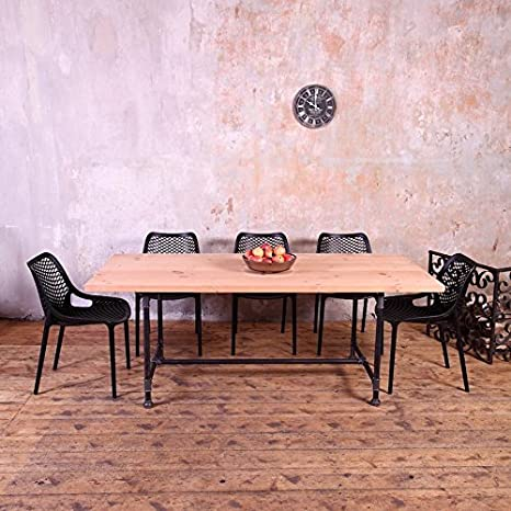 Metal Pipe Legs Industrial Style Dining Table - Silver steel - Beige