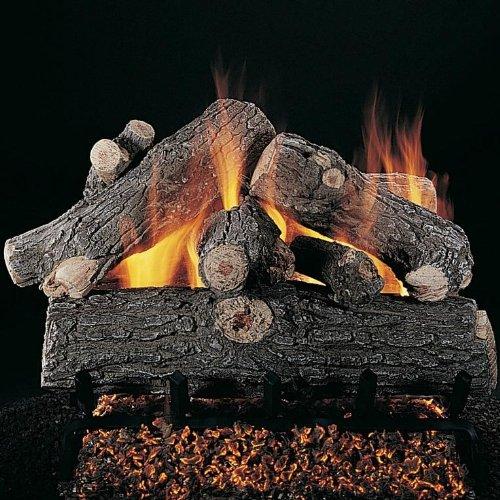 Rasmussen 30 Inch Prestige Oak Gas Log Set With Vented Natural Gas Ansi Certified Flaming Ember Xtra Burner - Manual Safety Pilot