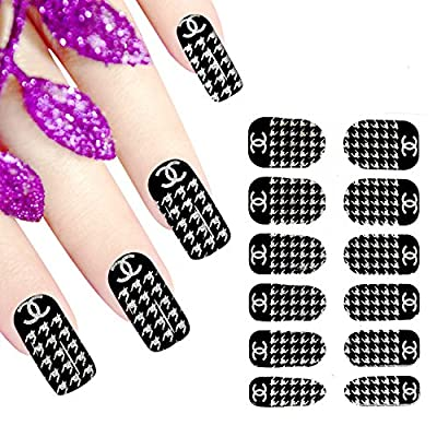 Ottery 1PCS Full Nail Wraps Chanel Sign Pattern Full Nail Stickers Nail Tattoo For Nail Art