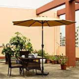 Ollieroo® Patio Umbrella Tilt Beige Aluminum 9FT Outdoor Market Umbrella With Crank 8 Steel Ribs and Wind Vent 100% Polyester