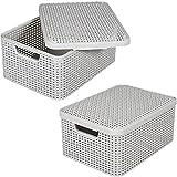 Rattan Korb M mit Deckel 39x29cm Kunststoff Aufbewahrungsbox Dekobox Box Kiste