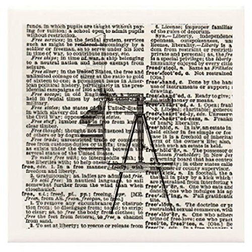 """Hand Made Coasters [Set Of 4] - Steampunk """"Windmill No. 4"""" [Full Height/Side View] Artwork Combines With Vintage Dictionary Pages, Ceramic Tiles And Specialty Materials To Create These Coasters From Our Modern Art Design Collection - A Stylish And Chic Wa front-347273"""