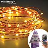Clearance Sale 67% Off By Homestarry® String Lights -120 Warm White LED's on a Flexible Copper Wire 20 Ft - Perfect for interior or patio environments. Add romantic light to your Bedroom - accent artwork in your Living Room or scatter on bushes and trees around your Patio. Remote Control feature easily regulates your lighting-40 - 000 hours of lighting.