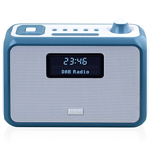 August MB400 - DAB/DAB+ Radio with NFC Bluetooth Wireless Speaker, Alarm Clock and FM Tuner - Portable Radio and MP3 Player: SD Card Reader / 3.5mm Audio In - Compact Stereo System (Blue)
