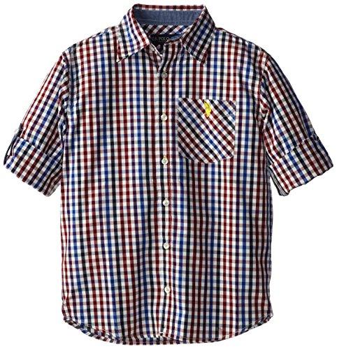 U.S. Polo Assn. Big Boys' Gingham Plaid Long Sleeve Sport Shirt, White, 14/16
