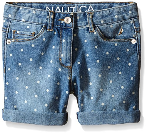Nautica Little Girls' Printed Denim Short with Rolled Cuff Midi Length, Medium Blue, 5