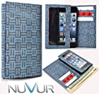 Slim Phone Cover Case With Wallet *Ty-vek* Blue Tribal Design May Fit Nok ia X+ Dual SIM + NuVur ™ k eychain |ESAMTVG1|