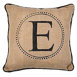 Monogram Burlap Pillow with Black Piping 12\
