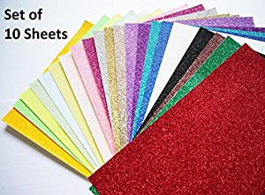 Pack of 10 a4 pigloo brand glitter foam sheets assorted for Soft foam sheets craft