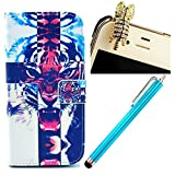 Vandot 3 in1 Ersatzteile Set Schutzhülle für Smart Phone Apple iPhone 4 4S 4G 1x Ledertasche Flip Wallet Leder Schale Tasche Glitzer Magnet PU Hülle Crystal Handy Silikon Back Cover Etui Case Skin Shell + 1x Blau Metall Touch Pen Stift Stylus + 1x 3.5mm Katze Cat Tiger Anti Dust Plug Rhinestone Staubschutz Diamant Kristall Stöpsel Anti Staub Stecker - Tiger Tier Mobile Phone Accessory Portemonnaie Geldbörse Leder Geldbeutel - Schwarz Blau weiß