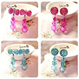 Elesa Miracle Girl Party Favor Birthday Gift Pretend Play Princess Jewelry Set 4pc Bowknot Shaped And Round Clip...