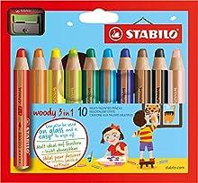 Comprar STABILO Woody - Lápiz de color multifuncional - Lápiz de color, cera y acuarela - Estuche con 10 colores y sacapuntas