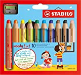 Office Product - STABILO woody 3 in 1 - Buntstift, Wasserfarbe und Wachsmalkreide in einem- 10er Set - mit Spitzer