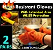 Wrist Protect Heat Proof Gloves (2 x PAIRS) - Hold hot, even BURNING hot dishes safely!