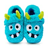 Boy's Comfort Fluffy Scary Monster Indoor House Cartoon Slippers with Hard Solesize Little Kid 12 US Blue (Color: Blue, Tamaño: 12 M US Little Kid)