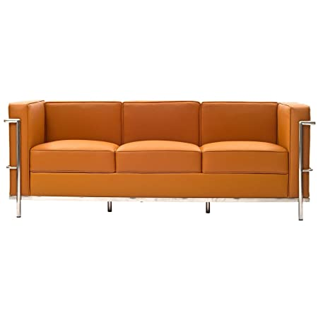 Charles Leather Petite Sofa in Tan