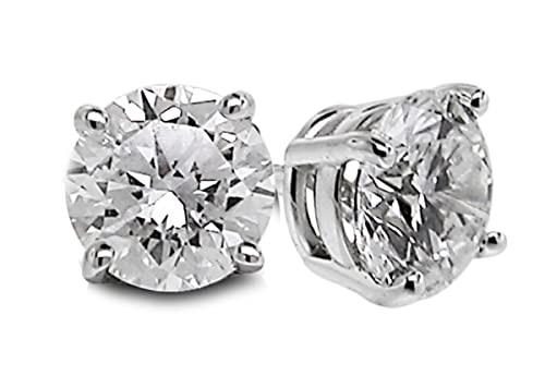 Diamond Studs Forever - 5/8 Carats Total Weight Solitaire Diamond Earrings GH/SI2-I1 14K White Gold