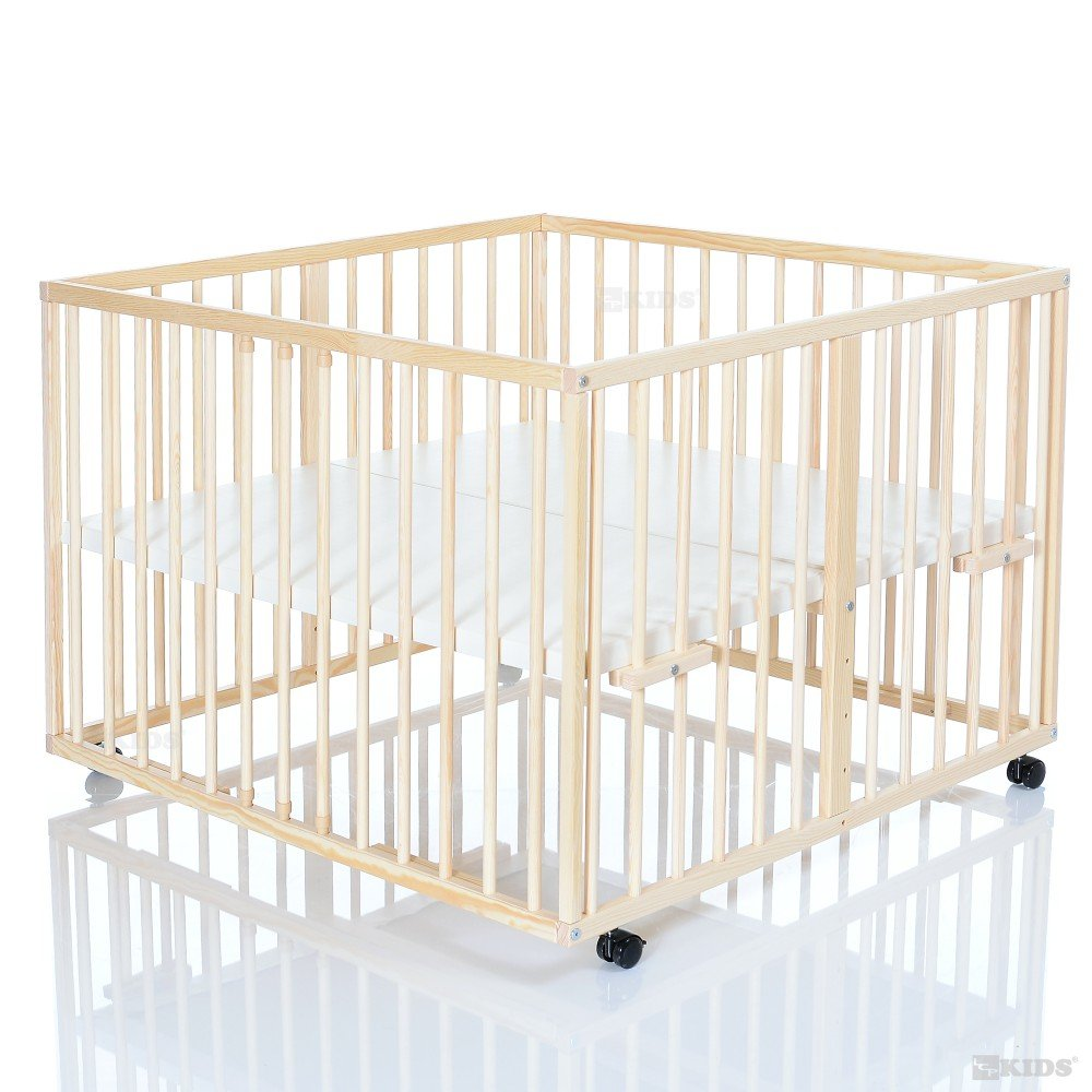 Holz Baby Laufstall 100×100 cm Niklas natur – Laufgitter mit wasserabweisendem und weichem Boden jetzt kaufen