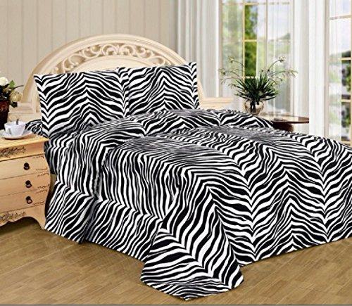 Black White Zebra Print Queen Size Sheet Set 4 Pc Safari