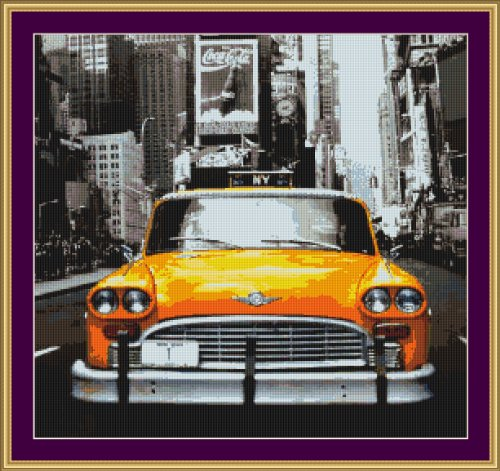 Cross Stitch Chart / Pattern (Stickvorlage / Muster) - TAXI CAB [ PDF on a CD ] (PDF auf einer CD)