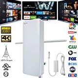 Outdoor/Indoor Digital HDTV Antenna-ANTOP Flat Panel Smartpass Amplified Antenna with Noise-Free 4G LTE Filter for VHF Enhanced, 70 Miles Multi-Directional Reception, 39ft Detachable Coaxial Cable (Color: White, Tamaño: Long Range TV Antenna)