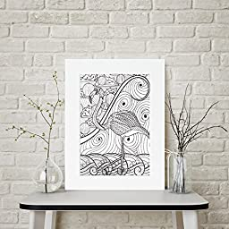 Flamingo Abstract - Personalized Wall Art 16x20 Matted DIY Giant Coloring Poster Artwork to Color or Paint & Hang (Frame Not Included)