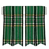 New Pair Of Green Irish Tartan Pointed Kilt Sock Flashes