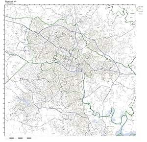 Amazon  Richmond VA ZIP Code Map Laminated  Prints